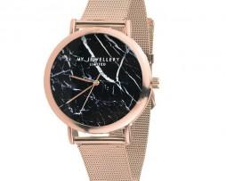 6552-horloge-rose-zwart-marble